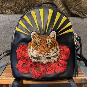Wild Fable Embroidered Tiger & Roses Mini Backpack